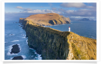 Mykines Holmur Lighthouse and Cliffs Aerial