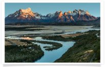 Sunrise along River Torres del Paine