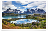Pond and Cuernos del Paine