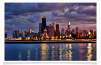 Chicago Skyline from North Ave at Dusk