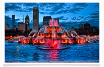 Buckingham Fountain Red Colors