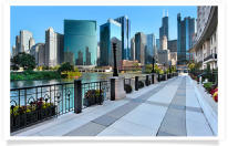 Sidewalk with Chicago Skyline