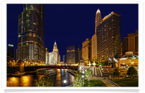 Chicago River and Downtown Buildings at Night