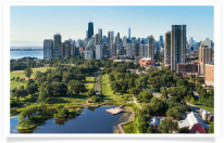 Chicago Skyline and Lincoln Park Zoo