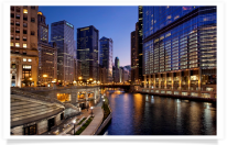 Chicago River and Walkway at Dusk